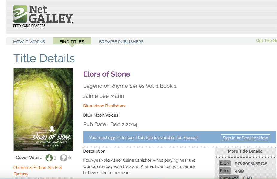 Elora of Stone on NetGalley
